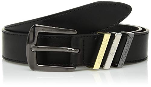 Armani Exchange Damen Gürtel Leather Belt, Schwarz (Nero 00020), 85 (Herstellergröße: L)