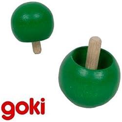 Juguete tradicional infantil PEONZA BOLA que se gira GOKI de madera color VERDE Niños + 4 años