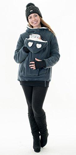 Divita Gefütterte Fleece Tragejacke für Tragetuch Bauchtrage Winter Eisbär D28f (Graphit) - 2