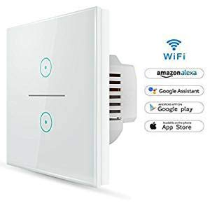 Wifi Interruptor Inteligente 2 Gang, Wireless Echo Interruptor remoto de luz de...