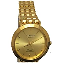 Omax Mens Wrist Watch Gold Stainless Steel Strap Analog Dial