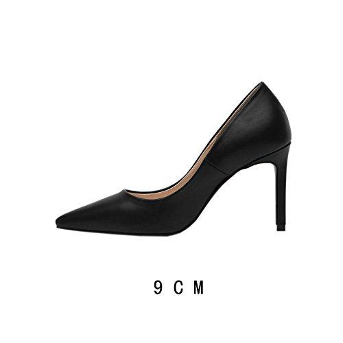 Flyrcx Simple Mode Femmes Automne Hiver Professionnel Mince Mince Bouche Avec Lady Chaussures À Talons Hauts C