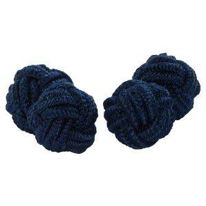 Gemelli a forma di nodo, paralume in seta, colore: blu navy | Cuffs & Co