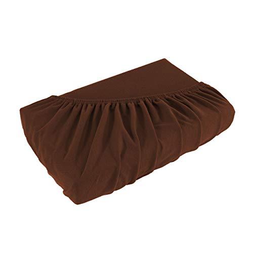 Topper Spannbettlaken Bettlaken 200x220 cm/Spannbetttuch Spannleintuch aus Jersey Baumwolle in braun/Schoko für Boxspringbetten