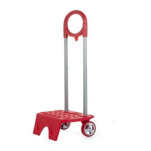 SKPA-T - 1116 Carro / Carrito portamochilas escolar. Altura regulable. Ruedas PVC. Adaptable a cualquier mochila. Muy ligero y robusto. Color Rojo