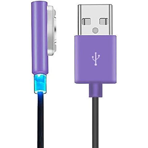 MP power ® púrpura metal Magnético USB carga cable cargador con indicador LED para Sony Xperia Z3 , Sony Xperia Z3 Compact , Sony Xperia Z2, Sony Xperia Z1 , Sony Xperia Z Ultra XL39h , Sony Xperia Z1