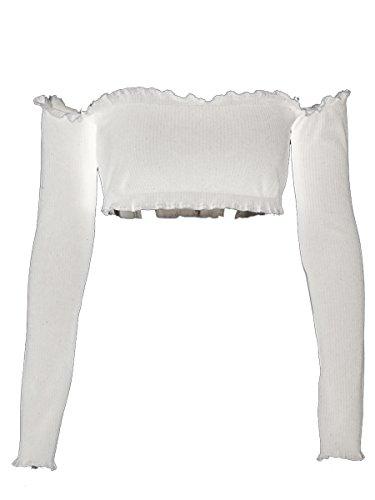 Simplee Apparel Damen kurz Tops Sexy Langarm Schulterfrei Bauchfrei Gestrickte Crop Tops Bustier Oberteil Weiß (Crop Weißes Jeans)