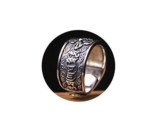 DXFY Verstellbar Siegelring 925 Sterling Silber Offene Statement Breite Bandring Retro Blumen Ringe für Frauen Männer Modeschmuck,B,V1/2 - Ring Männer Silber Für Armband Und