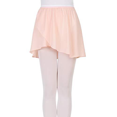 Bezioner Kinder Ballett Wickelrock Chiffon Damen Tanz Rock Mit Elastischem Bund (L (150-170 cm), Rosa (Elastischem Bund)) - Damen-tanz-trikot Pink