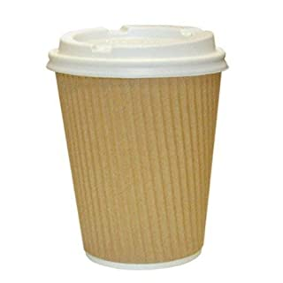 100 X Kraft Triple Walled Disposable Paper Ripple Cups for hot Drinks Tea Coffee + LIDS for Free, 8oz, 10oz, 12oz, 16oz, ECO Friendly, Food Grade, Recyclable (8oz)