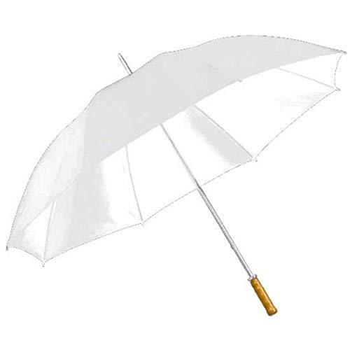 Paraguas grande de novia, para golf, XXL, 127cm, blanco, mango de madera, manual
