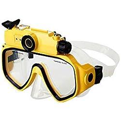NinJaSun Caméra de Sport + Lunettes de Protection, Champ de Vision de 30 degrés, Lunettes de plongée étanches et Profondes, Masque l'appareil Photo numérique avec écran LCD HD720P,Yellow