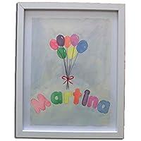 Cuadro infantil acuarela globos personalizada con el nombre. Alegre acuarela para habitación niño bebe,