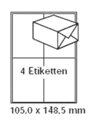 Etiketten Blatt Avery Volle (pripa Etikettenformat 105 x 148 100 Blatt DIN A4 selbstklebende Etiketten = 400 Etiketten pro Packet)