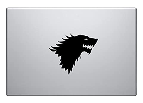 Cult British Drama - Game of Thrones - GoT - The Starks banner - Wolf - DIY easy to apply laptop Macbook vinyl sticker fun and cool for home improvement and decorations makes the perfect gift.
