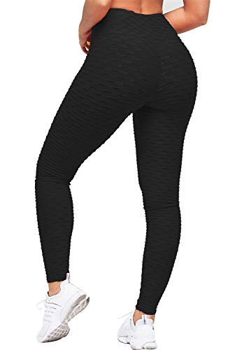 Uniquestyle Damen Sport Leggings Honeycomb Leggings Yoga Fitness Hose Lange Sporthose Stretch Workout Fitness Jogginghose Schwarz S