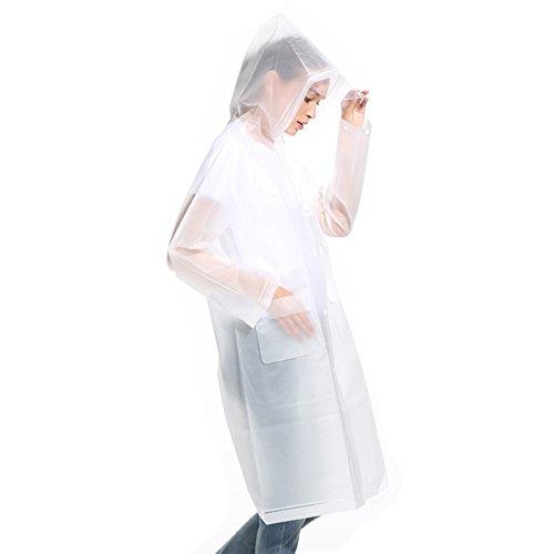 MINILOP Wiederverwendbarer Regenmantel Eva Regenponcho Unisex Herren Damen Regencape mit Hut, Kapuze klares Visier und Tasche für Erwachsene Outdoor Reisen, weiß, X-Large (Taschen Klar Kordelzug)
