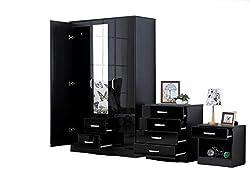 Fairpak Gladini XL High Gloss 3 Door 3 Piece Trio Bedroom Furniture Set - Includes Wardrobe, 4 Drawer Chest, Bedside Cabinet (Black) (Black)