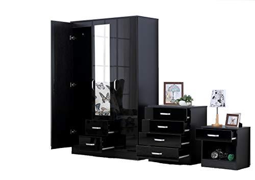 fairpak gladini xl high gloss 3 door 3 piece trio bedroom furniture set includes wardrobe