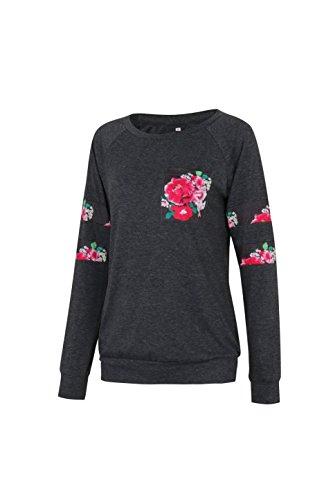 Zhaoyun Damen Langarmshirt Mit Floral Print Rundhals Lässige Bluse Oberteile Tops Schwarz