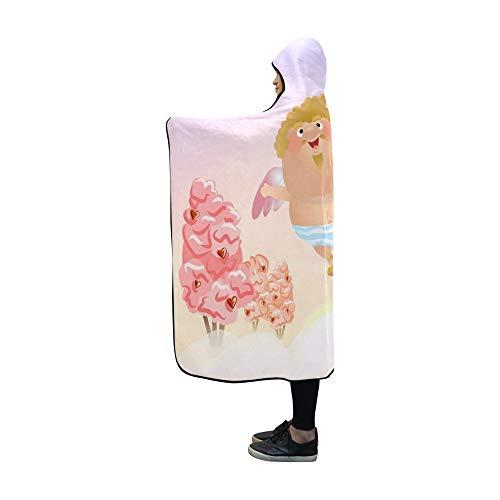JOCHUAN Mit Kapuze Decke Cupid Angel Wings Köcher Pfeile hält Decke 60 x 50 Zoll Comfotable Hooded Throw Wrap -