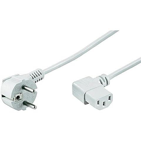 Wentronic NK 102 W - Cable de red (enchufe acodado a conector IEC 320 C13) blanco 3 m