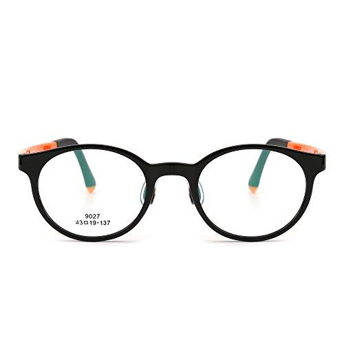 JIM HALO Kinder Rund Brillen Optisch TR Rahmen Mädchen Jungen Nicht Verschreibung Klar Linse(Glänzend Schwarz/Klar)