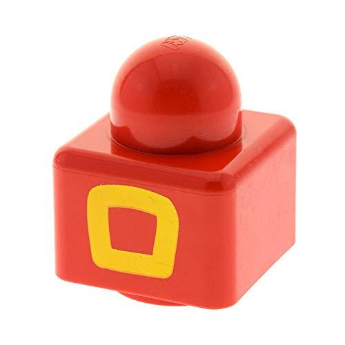 1 x Lego Duplo Primo BAU Stein rot 1x1 Bedruckt quadratische Line gelb 1 große Noppe Oben Baby Spielzeug für Set 9009 31000pb10