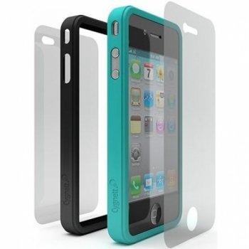 Cygnett cy0108cpsnd Snaps Duo für iPhone 4-Schwarz/Türkis - Faceplate Apple Iphone Snap