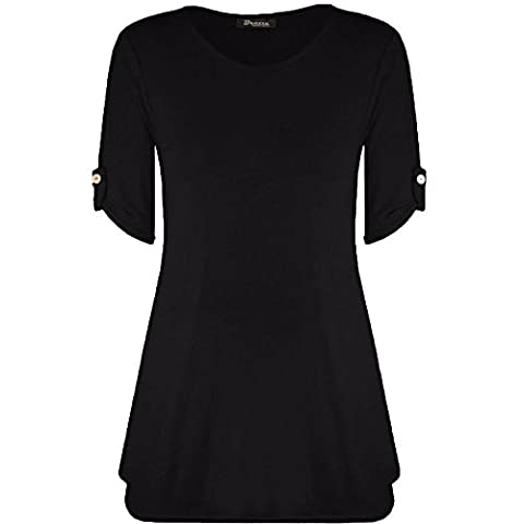 Womens Ladies Plus Size Button Short Turn Up Sleeves Flared Swing Dress Long Top UK 8-26 (XXXL (24-26 UK),