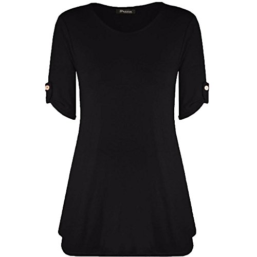 Womens Ladies Plus Size Button Short Turn Up Sleeves Flared Swing Dress Long Top UK 8-26 (XXXL (24-26 UK), Black)