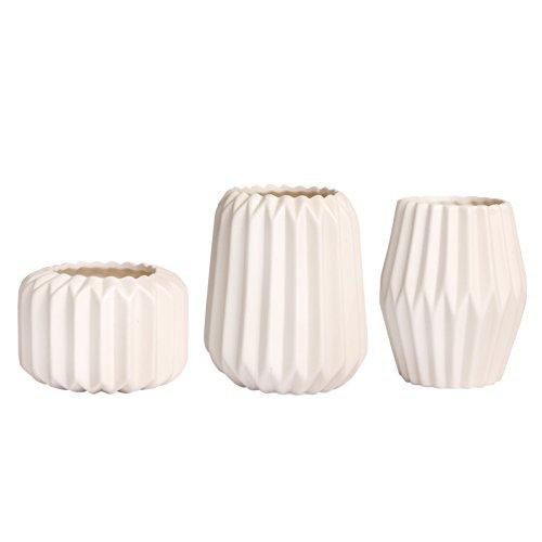 Vase Blumenvase Tischvase aus Porzelan Krakelee Weiß Matt Designvase (3er Set (Modell 1/2/3))