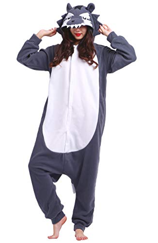 Jumpsuit Onesie Tier Karton Fasching Halloween Kostüm Sleepsuit Cosplay Overall Pyjama Schlafanzug Erwachsene Unisex Lounge Kigurumi Grau Wolf for Höhe 140-187CM