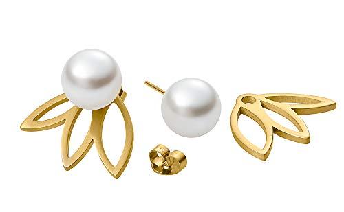 Heideman Ohrringe Damen Flora 3 aus Edelstahl gold farbend matt Ohrstecker für Frauen 2 in 1 Doppelstecker mit Swarovski Perle weiss rund 10mm