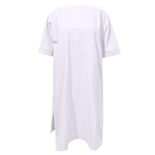 Floweworld Damen Lose Kurzarm Kleid Plus Size O Neck Beiläufiges Festes Kleid Sommerfest Minikleid -