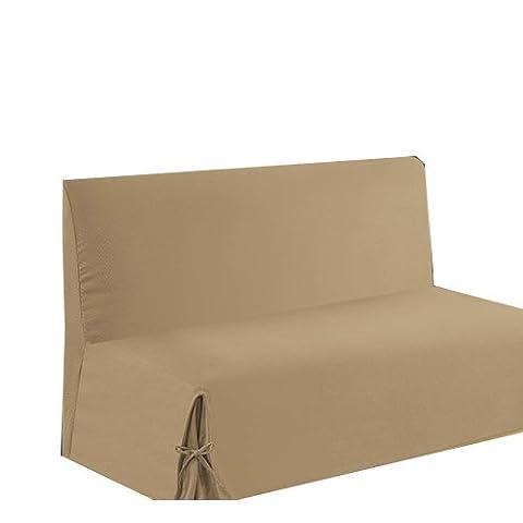 HomeMaison.com HM69451650 Housse de Clic-Clac à Nouettes Coton/Polyester Sable 200 x 140 cm