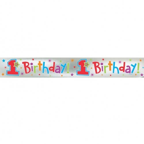 PARTY DISCOUNT Banner 1st Birthday Boy, 365 x 12,7 cm (Kostüm Party 365)