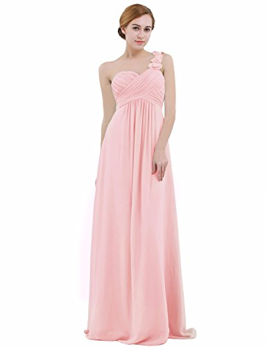 iEFiEL Womens One-Shoulder Chiffon A-Line Bridesmaid Maxi Long Evening Party Prom Gown Dress