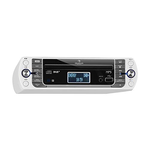 AUNA KR-400 CD Küchenradio Unterbau-Radio (DAB+/PLL FM Radio, CD/MP3-Player, Bluetooth, AUX, USB, 40 speicherbare Sender, LCD-Display, Koch- und Alarmfunktion, inkl. Fernbedienung) weiß