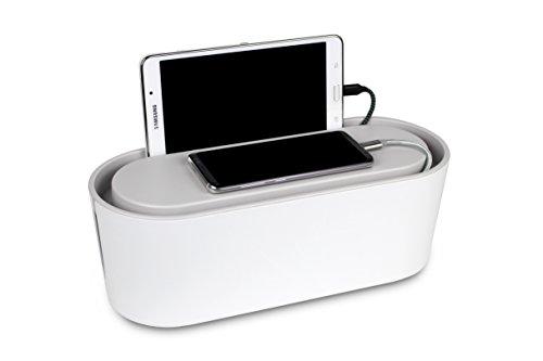 Bins & Things Kabelmanagement-Box und Mehrfachstecker-Organisator (weiß) USB, Computer, Netzwerk,...