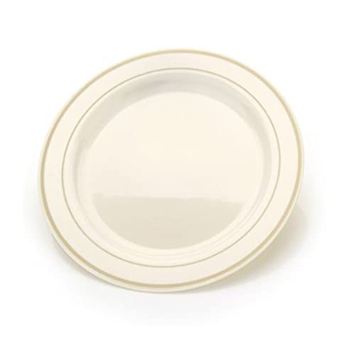 9'' China Like Plastic Plates Ivory With Gold Border 10CT