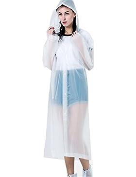 Poncho Transparente Impermeable Mujeres EVA Portable Impermeable Luz Impermeable Largo Uso Rain Coat(140*70 cm)