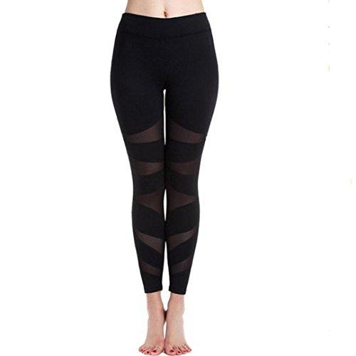 Legging Femme Kolylong Mesh panneaux Workout Stretchy Shorts Leggings Gym Yoga Pants (S-Taille:68-92cm, Noir)