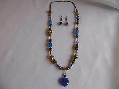 Collier long + boucles d'oreilles bleu, marron et doré, pendentif cœur, perles en verre indien, cristal de swarovski, parure, bijoux femmes.
