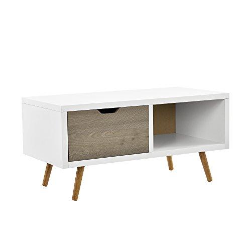 [en.casa] Cómoda retro / Sideboard / mesa de TV Lowboard / mesa auxiliar con cajón y compartimento - roble / blanco / gris