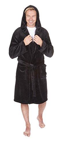 ed061f1b93 Pierre Roche Supersoft Fleece Hooded Dressing Gown Robe Black XL ...
