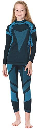 Ladeheid Kinder Mädchen Jungen Funktionsunterwäsche Set Langarm Shirt Lange Unterhose Thermoaktiv LASS0005 (Schwarz/Türkis, 134-140)