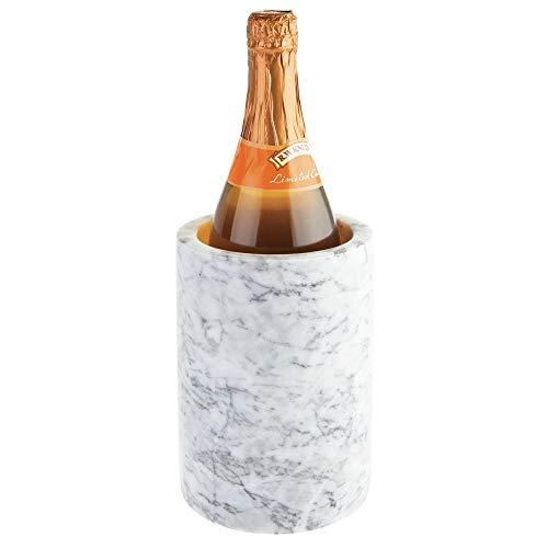 mDesign moderner Flaschenkühler - stylischer Weinkühler aus echtem Marmor - einzigartiger Flaschenhalter, der auch als Vase verwendet Werden kann - weiß/grau