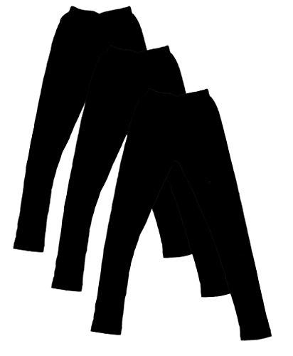 IndiWeaves Girls Cottton Black Leggings Pack of 3 (71405-3-IW-32_Multicolor_9-10 Years)