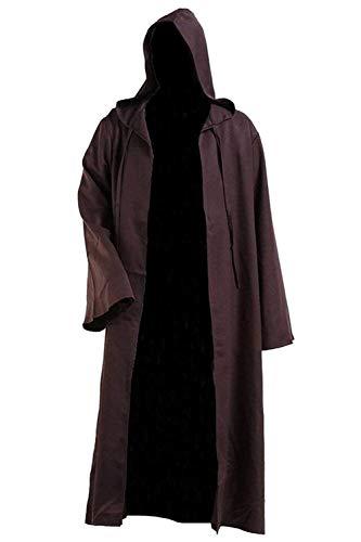 HX fashion Priomix Halloween Kapuzen Robe Film Anime Cosplay Umhang Zauberer Bequeme Größen Hexe Vintage Mode Einfarbig Langarm Kapuzenjacke Mantel Kleidung (Color : Kaffee Brown, Size : XL)